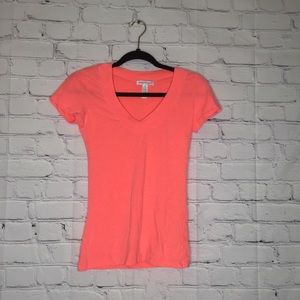 Ambiance Apparel coral v-neck tee shirt